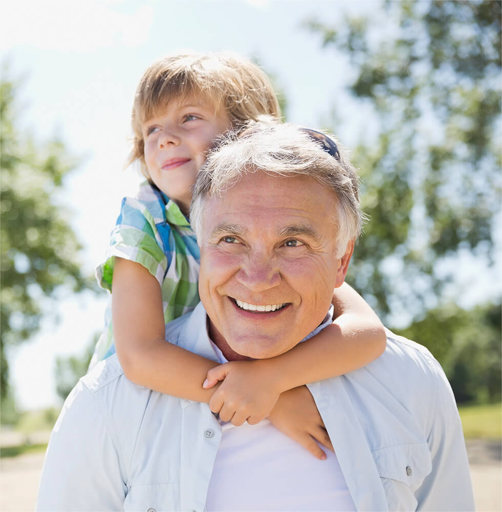 An image of a man and his grandchild.